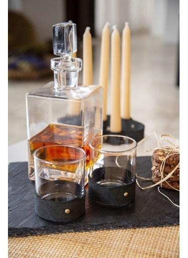 Maxmillen Deri Taba Kemerli  Whisky Kdehi - Bardağı 4'Lü Siyah Renkli
